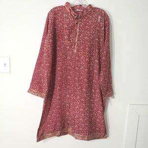Tops - 100% silk Indian boho style tunic paisley floral